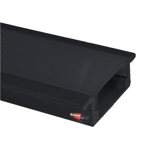 Perfil Led Preto Fumê Embutir Slim 2,4cm x 0,6cm Lum21P